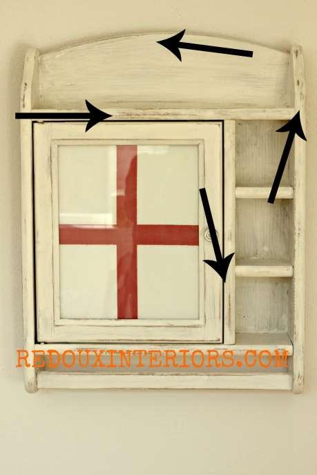 Red Cross Cabinet wet distress  redouxinteriors