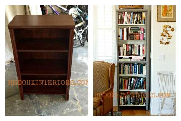 Closet Organizer turned bookshelves before and after Redouxinteriors