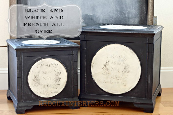 Black and White French Boxes with label Redouxinteriors