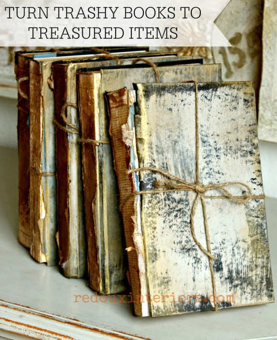 Antiqued books front with cece caldwells paints BANNER  redouxinteriors