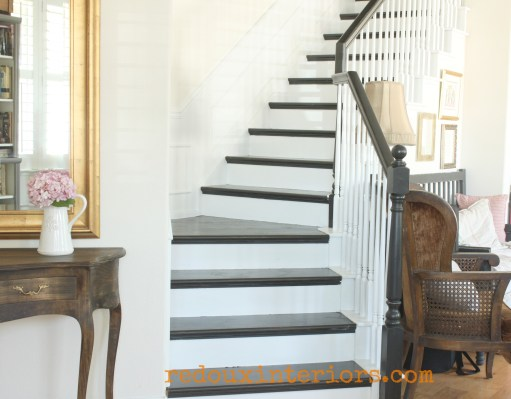 Black and White stairs french stained entry table reoduxinteriors