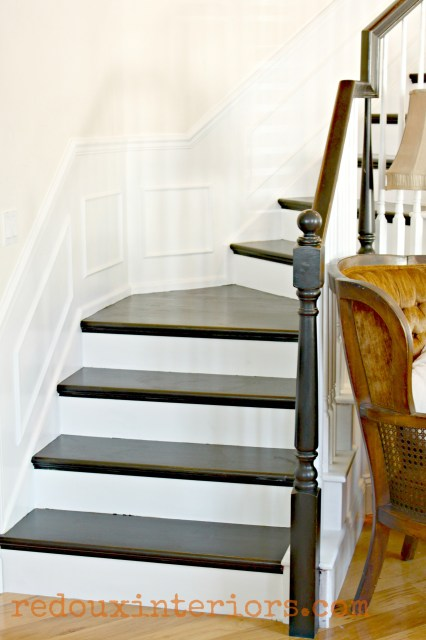 Black and White stairs with white trim redouxinteriors