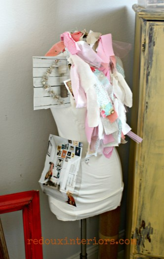 Mannequin with fabric scrap banner for scarf redouxinteriors