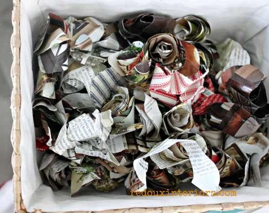 Basket of paper flowers redouxinteriors