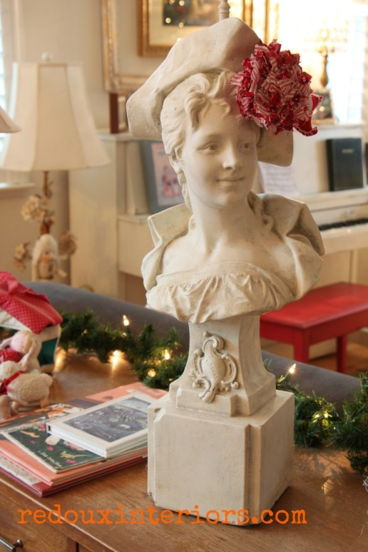 Holiday Home Tour Redouxinteriors Marble lady with handmade ornament