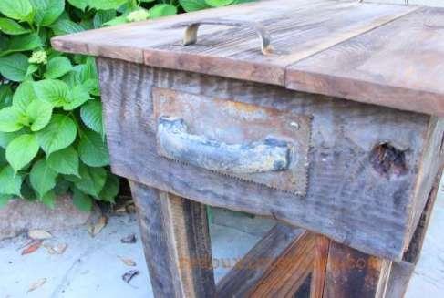 junk table with barn wood overlay trowel handles redouxinteriors