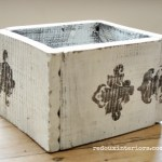 Stenciled fence board box with stain redouxinteriors