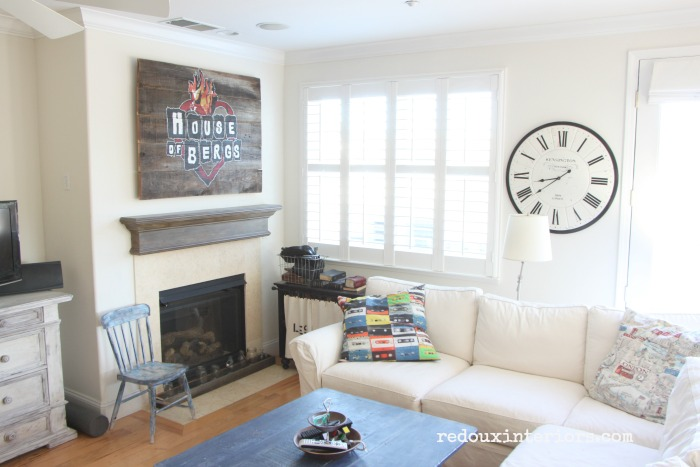 House of Bergs DIY sign in family room redouxinteriors