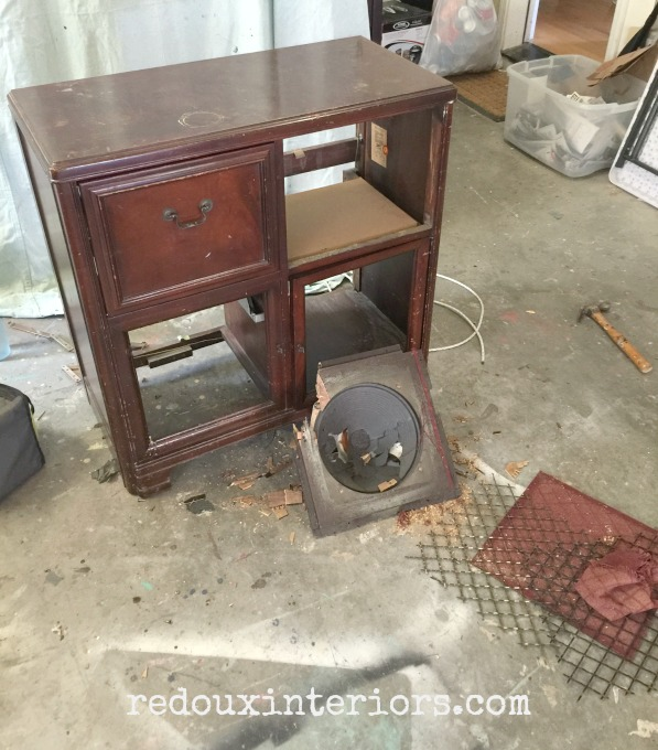 Vintage Stereo Cabinet Makeover parts out redouxinteriors