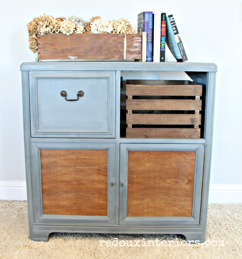 Vintage Stereo Cabinet makeover straight on redouxinteriors