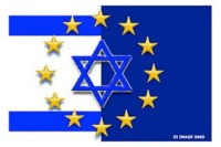 Overlapping EU-Israeli flags