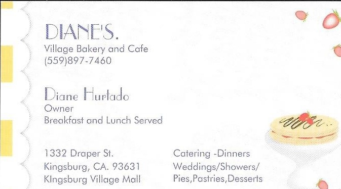 Diane's Bakery and Cafe Business Card