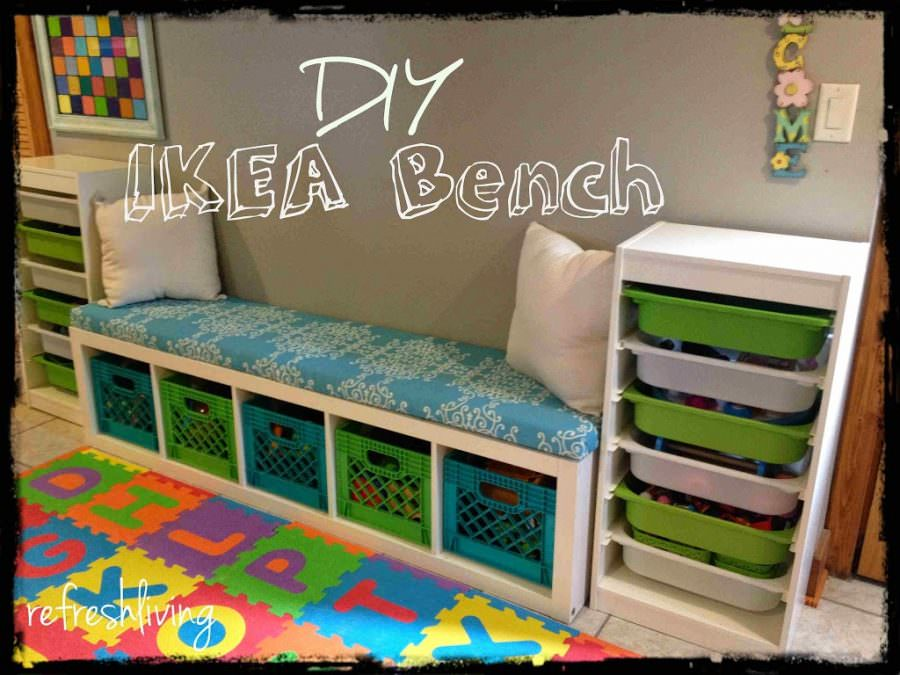 DIY Storage Bench With IKEA Shelf Refresh Living