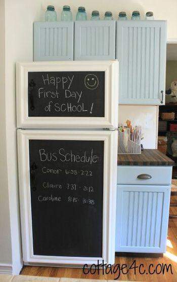 chalkboard on fridge