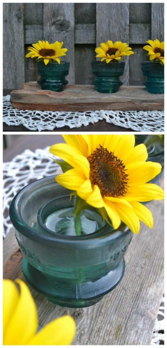 glass insulator upcycle centerpiece