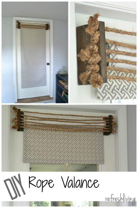 diy valance with rope and wood collage