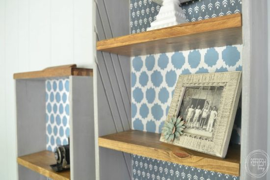 upcycled shelves from old drawers