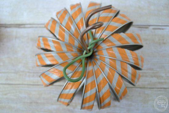 mason jar lid pumpkin with washi tape 2