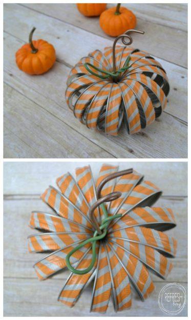 mason jar ring pumpkins with washi tape pin