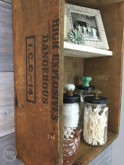 rustic wooden crate bathroom wall shelf