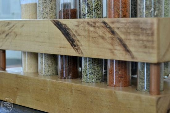 DIY Spice Rack with test tubes, copper pipe, and butcher block   Rustic industrial DIY spice rack   The best size test tubes to create a spice rack