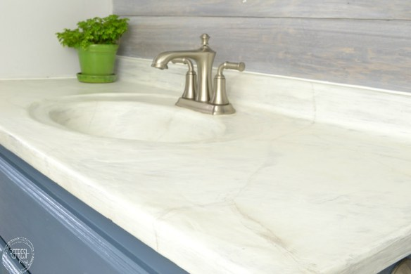 diy concrete countertops with faux marble look