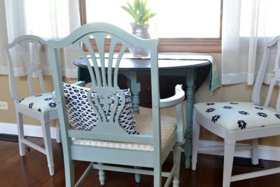 refinished dining chairs with gray and navy blue fabric