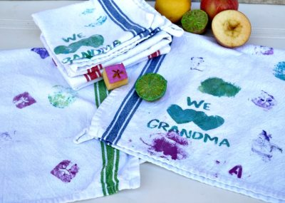 DIY Mother's Day gift idea   mother's day gift made by kids   Fruit stamped kitchen towels   handmade mother's day gift for mom or grandma