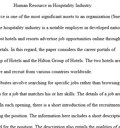 essay on career in hospitality industry