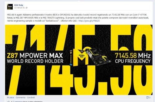 MSI infrange ancora una volta il record di frequenza con un 4770k