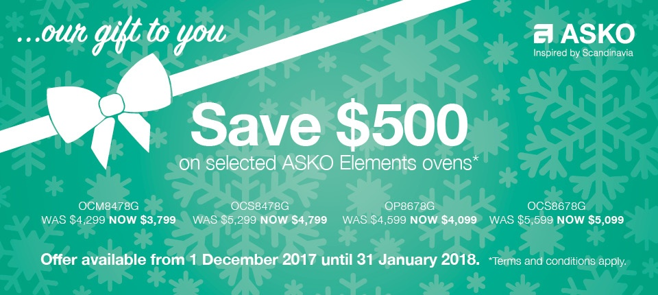asko gift elements ovens dec 2017
