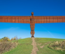 Angel of the north, steht in Northumberland, Nord England bei Newcastle und Sunderland