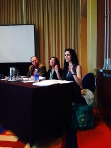 Kate Daley-Bailey presenting at the national American Academy of Religion conference in Baltimore this past November (2013, along with Dr. John Herman and Dr. Tina Pippin).