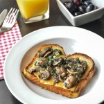 Creamy Mushrooms and greens on Toast