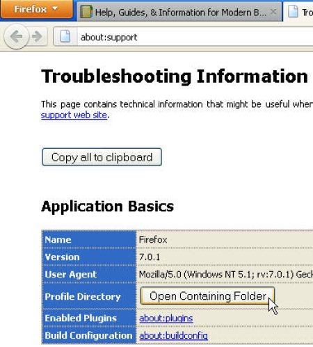 Click the Open Containing Folder button under the Application Basics section5