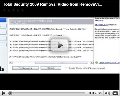 Total security 2009 Removal Video