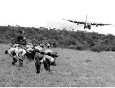 "Rhodesia Security Forces give ""brown-eyed salute"" to incoming RAF Hercules flight carrying British traitors"
