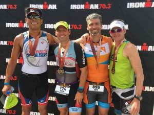 At the finish line with brother John and friends