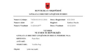 Vendimi i Gjykatës së Durrësit, i cili i ka dhënë të drejtë Berishës të përfitoj nga amnistia | Foto : BIRN