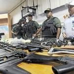 Durante la intervención en Rodeo I la GN decomisó numerosas armas de guerra, granadas, Etc.