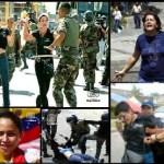 Chávez y su guardia pretoriana la GNB atacan a las mujeres, son golpeadas y humilladas.