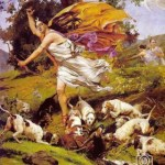 Arturo Michelena (1863-1898) en 1896 pinta Diana Cazadora, la obra mas latinoamericana del pintor, es el retrato de una diosa griega con perros ingleses a sus pies.