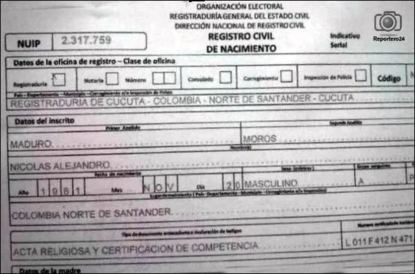 *Esta es el acta de nacimiento de Nicolas Maduro que difundió el ex embajador de Panamá ante la OEA, Eduardo Cochez.