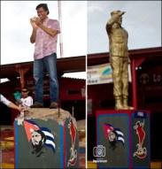 Leopoldo Lopez en el pedestal de la destruida estatua de Fidel Castro.