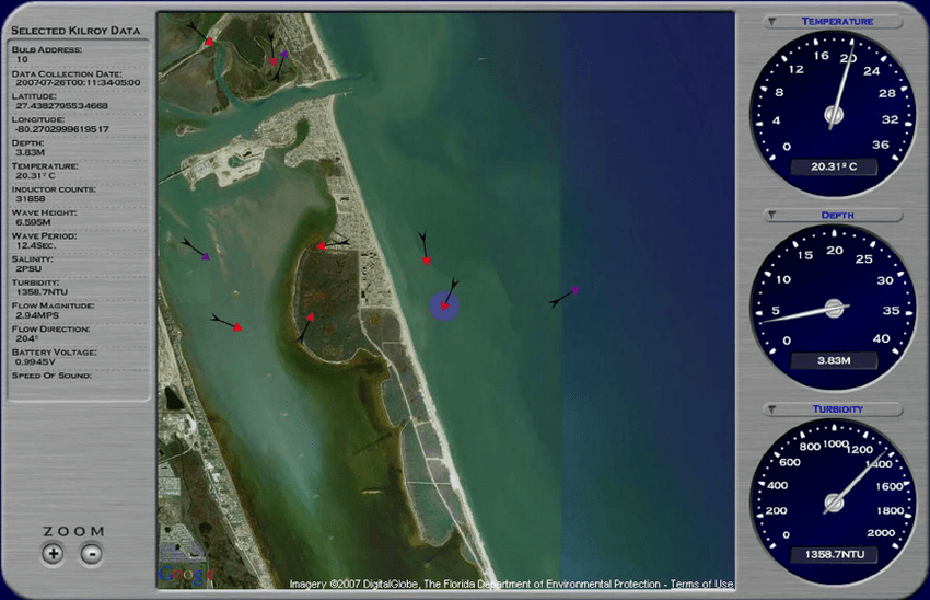 Wireless network data screen showing Google Map satellite view of     Wireless network data screen showing Google Map satellite view of the Fort  Pierce  Inlet