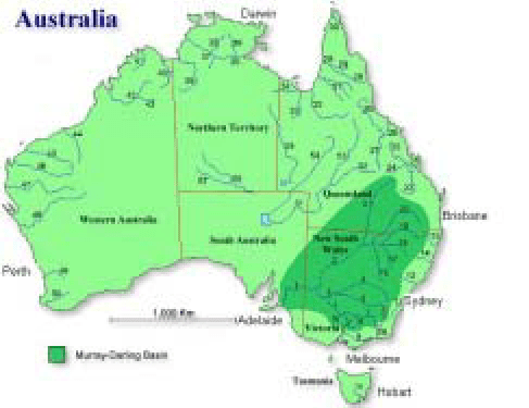Map of Australia showing major rivers and highlighting the Murray     Map of Australia showing major rivers and highlighting the Murray Darling  Basin  Courtesy of