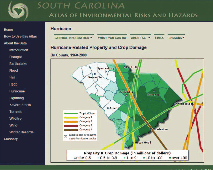 Hazard map page  Hurricane tracks are shown over hurricane related     Hazard map page  Hurricane tracks are shown over hurricane related property  and crop damage