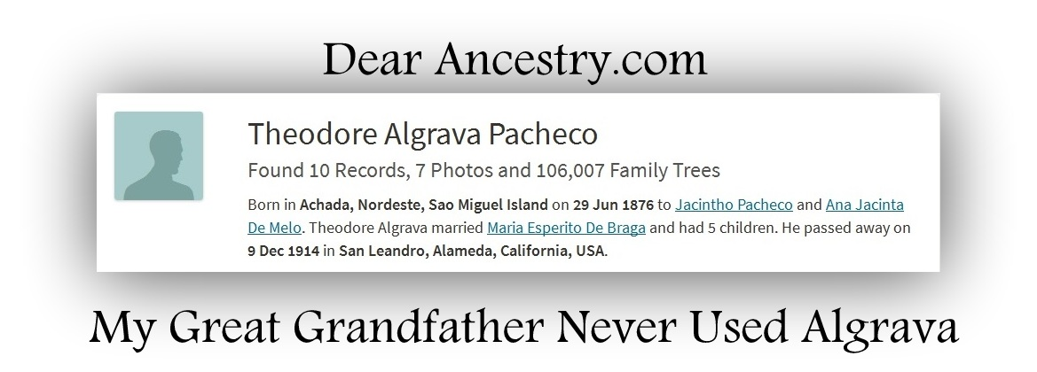 Dear Ancestry.com: My Great Grandfather Never Used Algrava