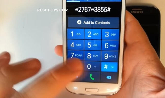 Samsung galaxy factory reset by code 1