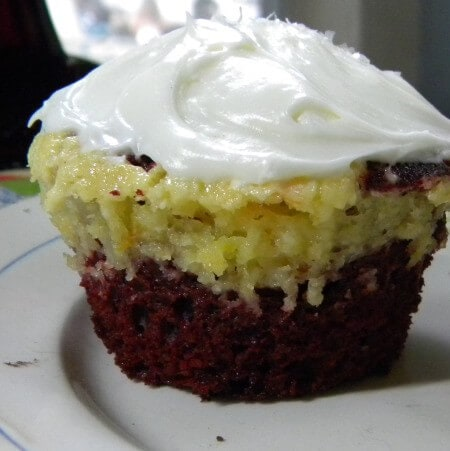 red velvet and cheesecake cupcake